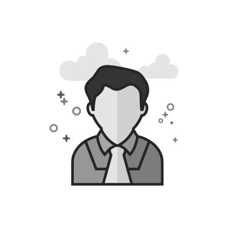 Judge avatar icon in flat outlined grayscale style. Vector illustration.