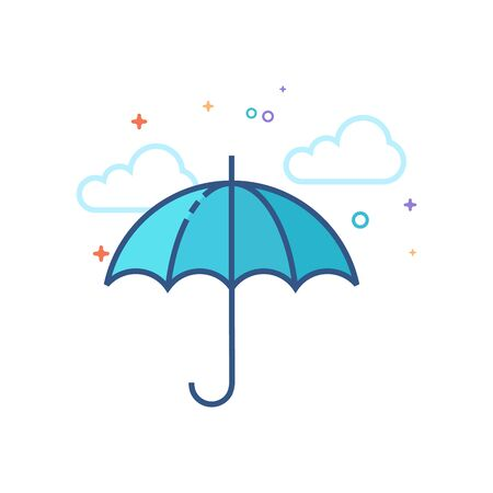 Umbrella icon in outlined flat color style. Vector illustration. Illustration