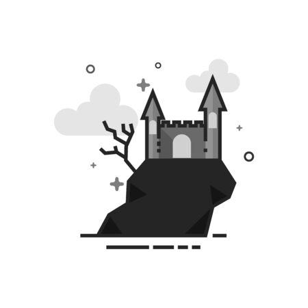 Cone do castelo escuro no plano esboçado em tons de cinza estilo. Ilustração vetorial Foto de archivo - 94659421