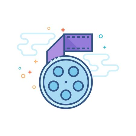 Cinema movie reel icon in outlined flat color style. Vector illustration.
