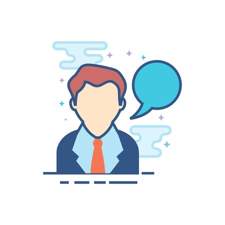 Businessman with talk bubble icon in outlined flat color style. Vector illustration.