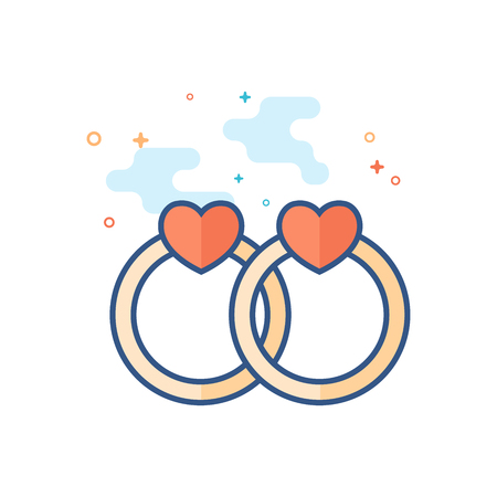 Wedding ring icon in outlined flat color style. Vector illustration. Illustration