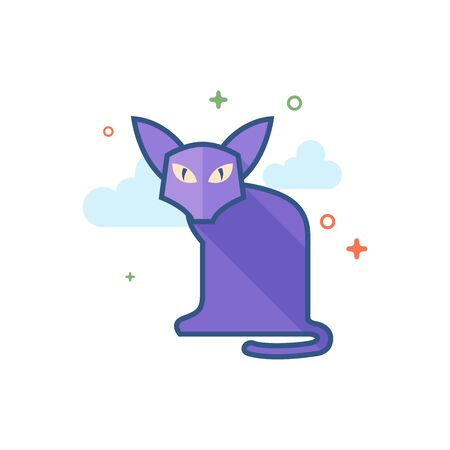 Cat icon in outlined flat color style Vector illustration.