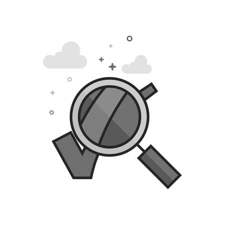 Magnifier check mark icon in flat outlined grayscale style Vector illustration.