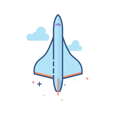 Supersonic airplane icon in outlined flat color style Vector illustration.
