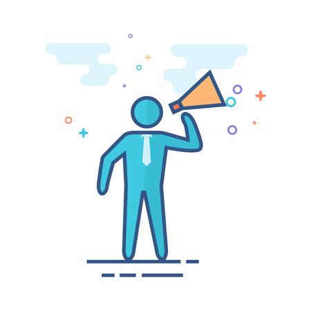 Businessman loudspeaker icon in outlined flat color style. Vector illustration. Illustration