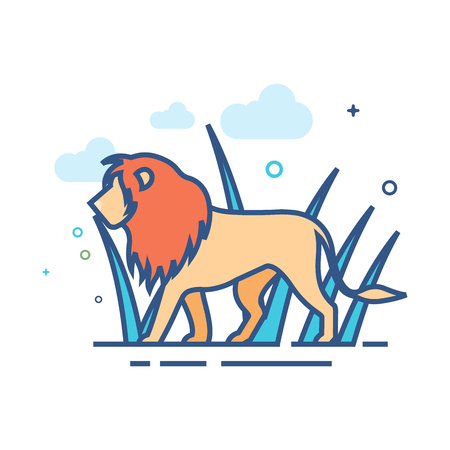 Lion icon in outlined flat color style. Vector illustration.