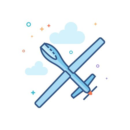 Unmanned aerial vehicle icon in outlined flat color style. Vector illustration.