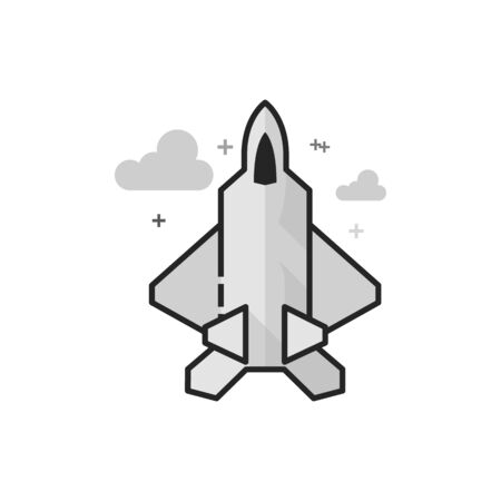 Fighter jet icon in flat outlined grayscale style. Vector illustration.