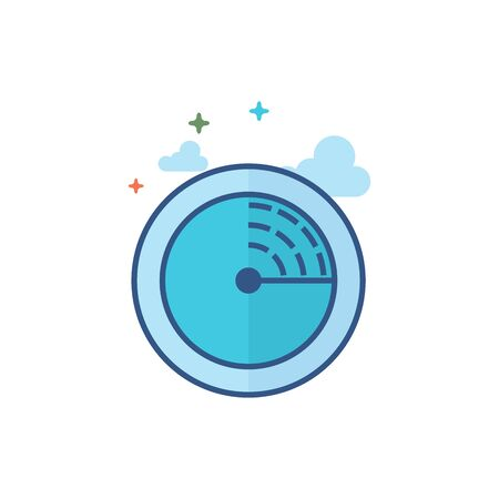 Radar icon in outlined flat color style. Vector illustration.