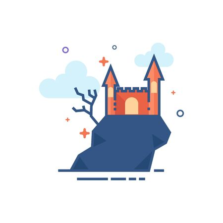 Dark castle icon in outlined flat color style. Vector illustration.