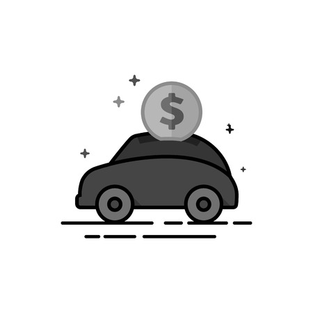 Car piggy bank icon in flat outlined grayscale style. Vector illustration.