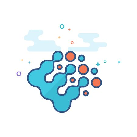 Printing raster dots icon in outlined flat color style. Vector illustration. Ilustração