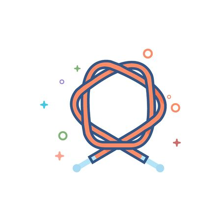 Bicycle cable icon in outlined flat color style. Vector illustration.