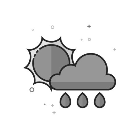 Rainy icon in flat outlined grayscale style Vector illustration.
