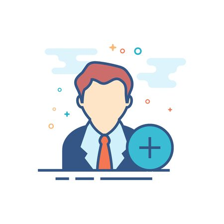 Businessman with plus sign icon in outlined flat color style. Vector illustration. Иллюстрация