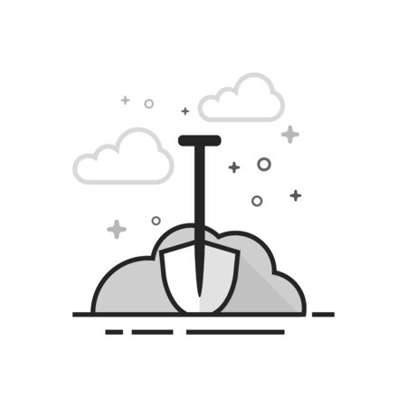 Snow and shovel icon in flat outlined grayscale style. Vector illustration.