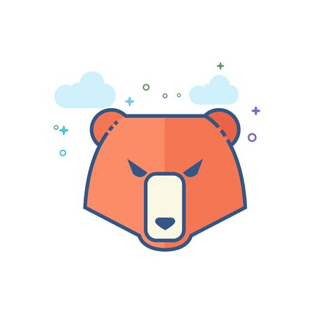 Bear icon in outlined flat color style. Vector illustration. Illustration