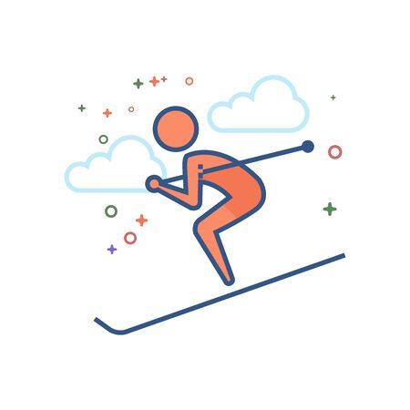 Ski icon in outlined flat color style. Vector illustration.