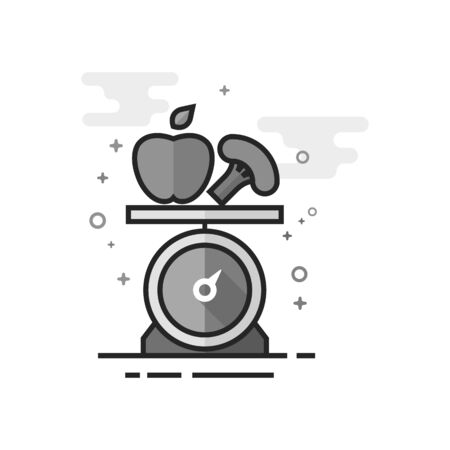 Food scale icon in flat outlined grayscale style Vector illustration. Illustration
