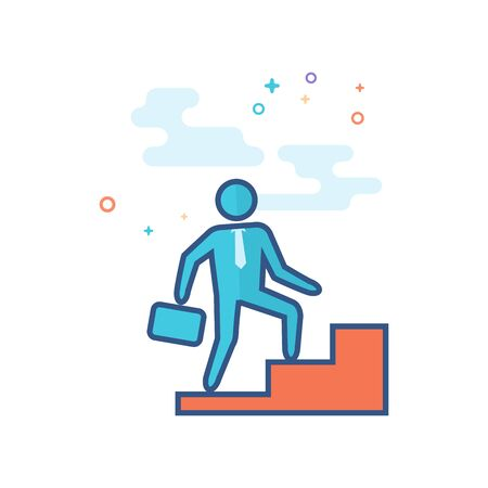 Businessman stairway icon in outlined flat color style. Vector illustration.