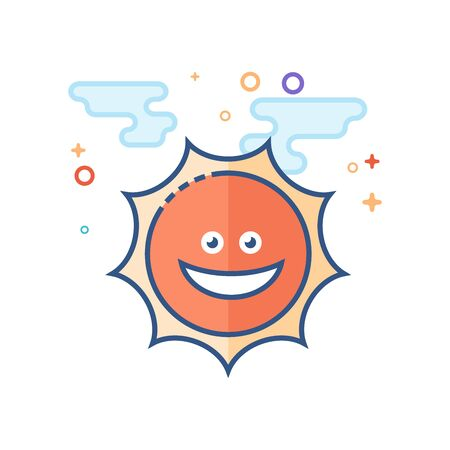 Weather forecast sunny icon in outlined flat color style. Vector illustration.
