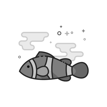 Clown fish icon in flat outlined grayscale style. Vector illustration.