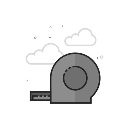 Measure tape icon in flat outlined grayscale style. Vector illustration.