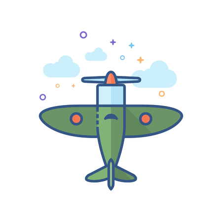 World War icon in outlined flat color style. Vector illustration.