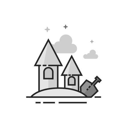Sand castle icon in flat outlined grayscale style. Vector illustration. Illustration