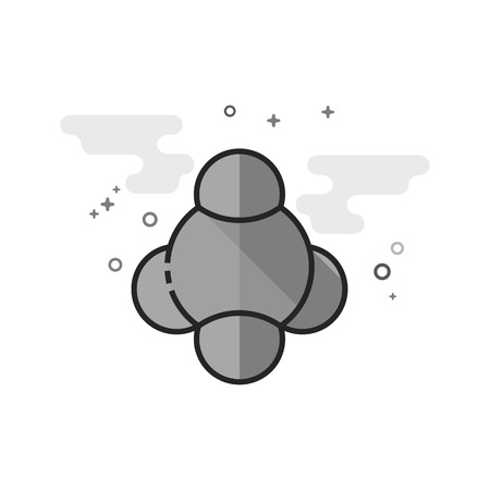 Molecules icon in flat outlined grayscale style. Vector illustration.