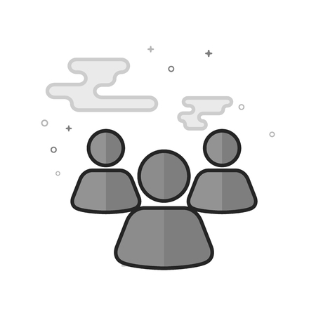 Teamwork icon in flat outlined grayscale style. Vector illustration. Illustration