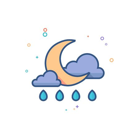 Weather overcast rainy icon in outlined flat color style. Vector illustration.