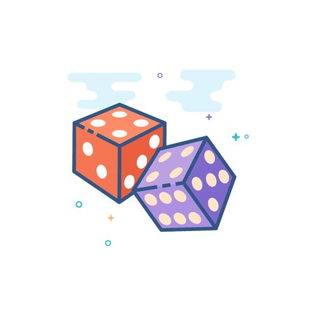 Dice icon in outlined flat color style. Vector illustration. Illustration