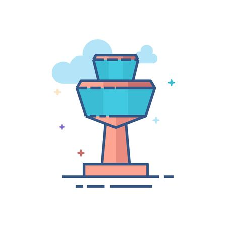 Airport tower icon in outlined flat color style. Vector illustration.