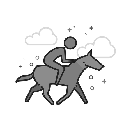 Horse riding icon in flat outlined grayscale style. Vector illustration.