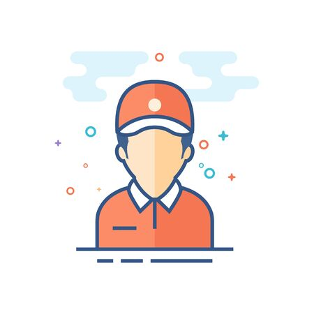Delivery man icon in outlined flat color style. Vector illustration.