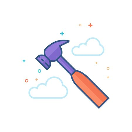 Hammer icon in outlined flat color style. Vector illustration.