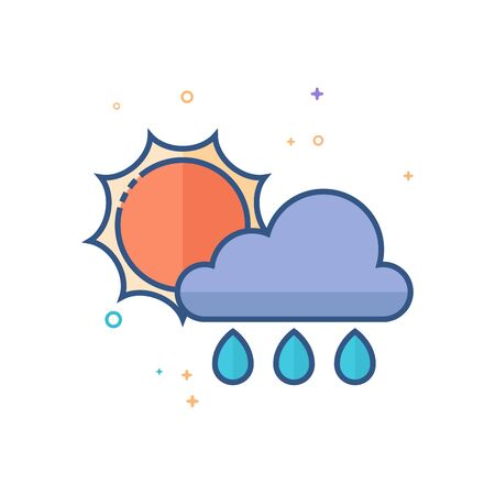 Rainy icon in outlined flat color style. Vector illustration.