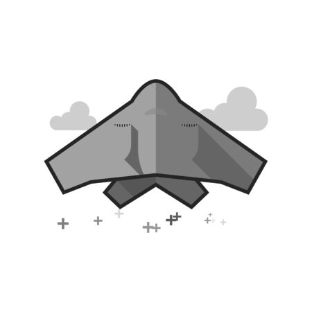 Stealth bomber  icon in flat outlined grayscale style. Vector illustration.
