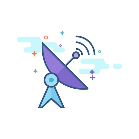 Satellite receiver icon in outlined flat color style. Vector illustration. Illustration