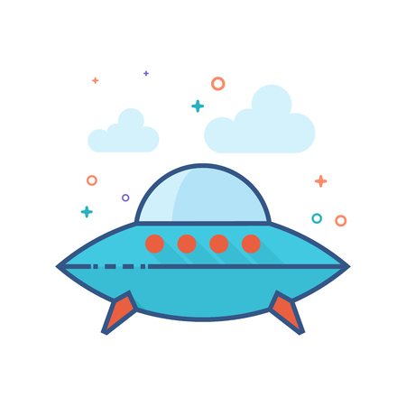 Flying saucer icon in outlined flat color style. Vector illustration.