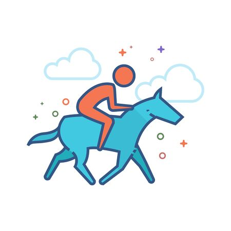 Horse riding icon in outlined flat color style. Vector illustration. Illustration