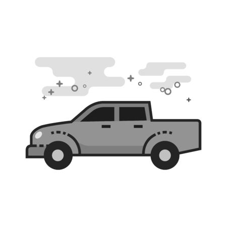 Truck icon in flat outlined grayscale style. Vector illustration.