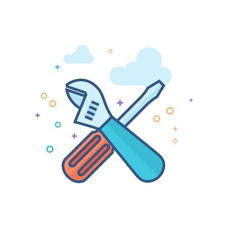 Mechanic tools icon in outlined flat color style. Vector illustration. Illustration
