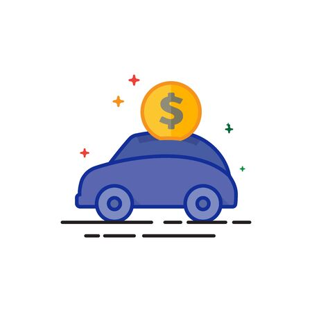 Car piggy bank icon in outlined flat color style. Vector illustration. Illustration