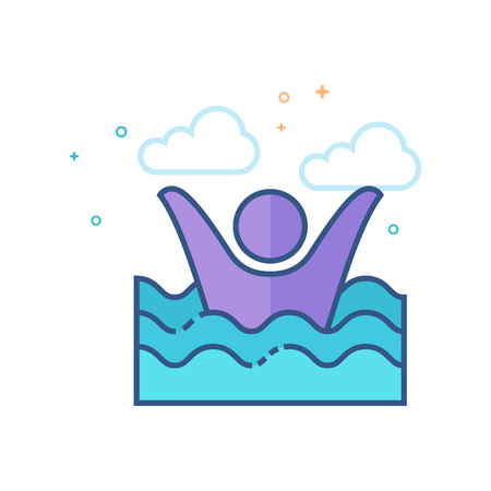 Drowned man icon in outlined flat color style. Vector illustration. Illustration