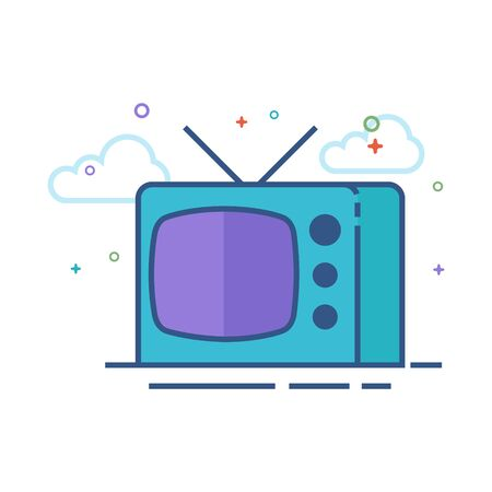 Television icon in outlined flat color style. Vector illustration.