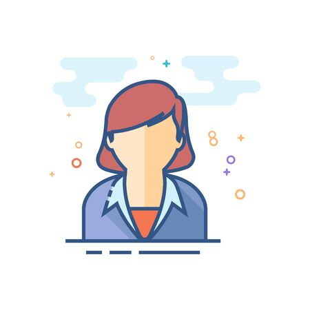 Female receptionist icon in outlined flat color style. Vector illustration.