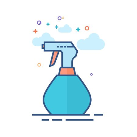 Sprayer bottle icon in outlined flat color style. Vector illustration.